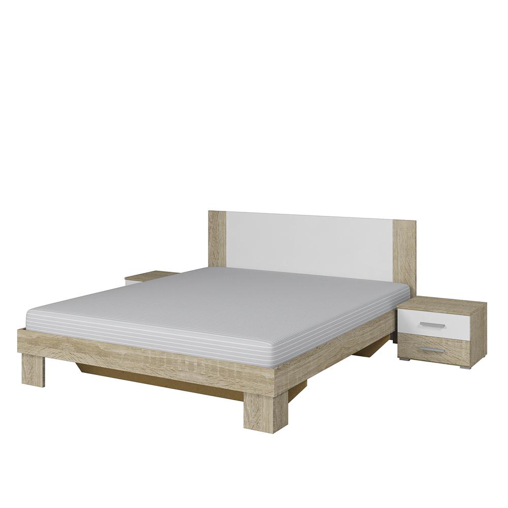 Vera 51 łóżko 160x200 Stoliki Nocne Sonoma Jasny Biały