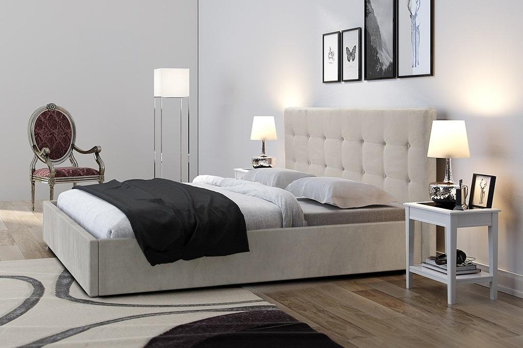Gracja 2 łóżko Tapicerowane 180x200 Pikowany Guzikami Zagłówek