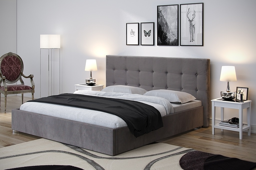 Gracja 2 łóżko Tapicerowane 160x200 Pikowany Guzikami Zagłówek